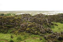 rocks with moss in iceland - stock photo