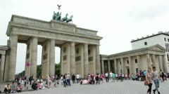 Berlin Germany at Brandenburg Gate Stock Footage
