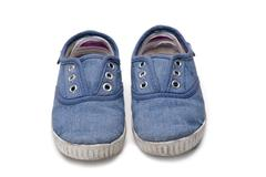 blue sneakers. - stock photo