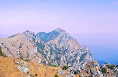 Mountainside of the high peak Stock Photos