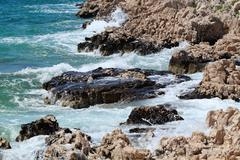 summer waves on the coast of central dalmatia - stock photo
