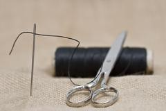 sewing. - stock photo