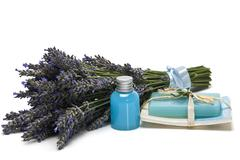 lavender, gel and soap. - stock photo