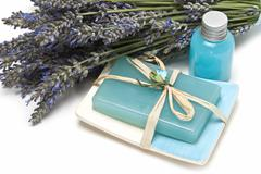 soap made of lavender. - stock photo