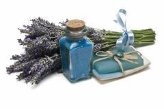 lavender bath salts and soap. - stock photo