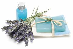 Lavender gel and soap for bathing. Stock Photos