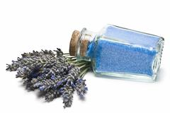 jar with lavender bath salts. - stock photo