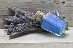 Bunch of lavender and bath salts. Stock Photos