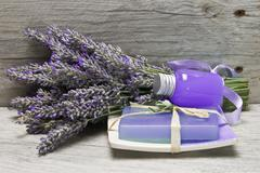 Fresh lavender, gel and soap. Stock Photos