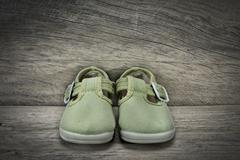 green shoes for baby - stock photo