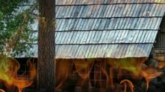 Cabin Fire in Woods - stock footage