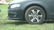 Car stuck in the mud (1) Stock Footage