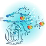 Winter background with cage and bird Stock Illustration