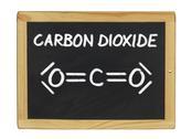 Chemical formula of carbon dioxide on a blackboard Stock Illustration