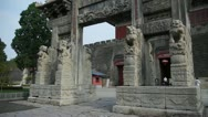 Stock Video Footage of China stone arch & ancient city gate.