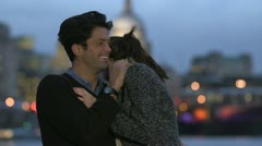 Attractive couple spending time together in London at night - stock footage