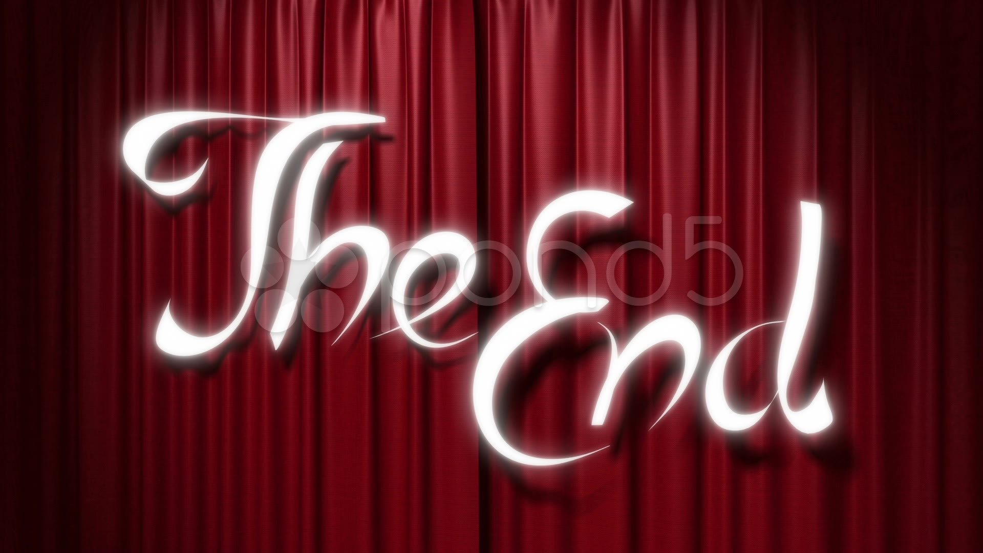 "Closing red curtain with a title ""the end"" ~ Footage #12732443"