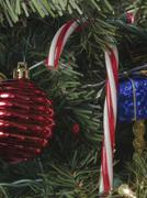 Chirstmas Candy Cane Lights Ornaments Red Blue White Holidays - stock photo