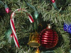 Stock Photo of Chirstmas Candy Cane Lights Ornaments Red Blue White Holidays