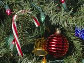 Stock Photo of Candy Cane with Lights and Ornaments