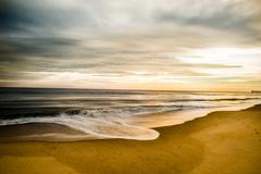 Virginia Beach Oceanfront Retreating Wave - stock photo
