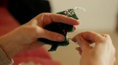 Making Xmas decorations Stock Footage