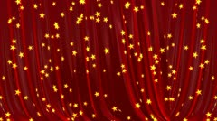 Opening and closing red curtain. 3d animation. Black easy keying. - stock footage