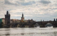 charles bridge in prague - stock photo