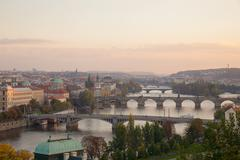 overview of old prague with charles bridge - stock photo