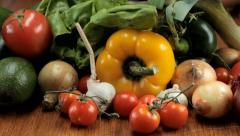Vegetables composition - tracking shot Stock Footage