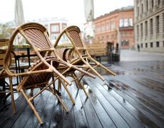 street cafe in riga - stock photo