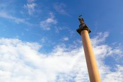 Alexander column in st. petersburg. Stock Photos