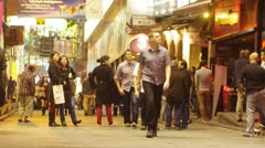 Crowds in lan kwai fong Stock Footage