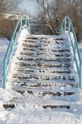 Bridge over pond at winter Stock Photos