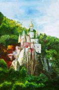 painting, svyatogorsk lavra, ukraine - stock photo