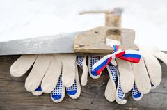 Log, handsaw and work gloves Stock Photos