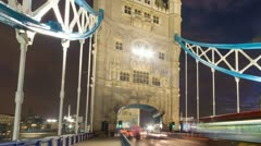 Tower Bridge in London at night Stock Footage