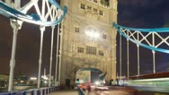 Stock Video Footage of Tower Bridge in London at night