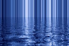 Digital blue vertical lines and water effect reflection. Stock Illustration