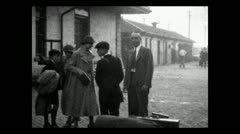 Boarding train  at station 1934 B-W Stock Footage