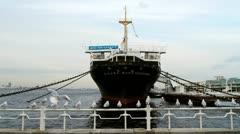 Japan - Yokohama Boat with gulls - HD Stock Footage