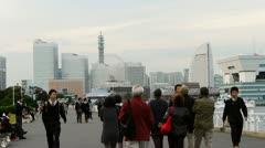 Japan - Yokohama Harbor crowd - Minato Mirai - HD Stock Footage
