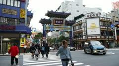 Japan - Yokohama Chinatown gate entrance - Slow Motion - HD Stock Footage