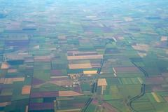 Aerial view of green rural landscape - stock photo