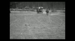 Montana stagecoach arriving 1935 B-W Stock Footage