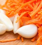 Stock Photo of garlic and juicy carrot