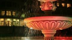 Antique fountain in park evening Stock Footage