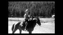 Montana testing the mount and saddle 1935 B-W - stock footage
