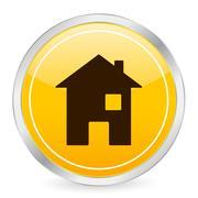 Home yellow circle icon Stock Illustration