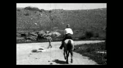 Wyoming dude ranch riding away 1934 B-W Stock Footage